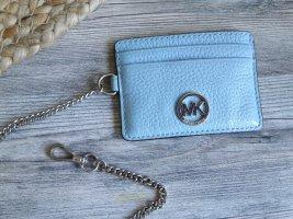 Echtleder Kartenetui MICHAEL KORS hellblau Etui Schlüssenanhänger Portemonnaie Geldbörse blau Babyblau Schlüsselkette Leder