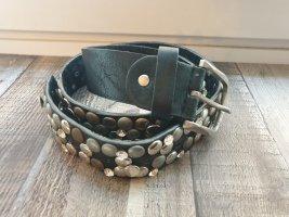NoName Leather Belt black-silver-colored
