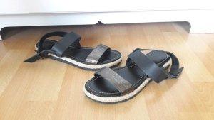 Echtleder Sandalen Schuhe Kroko Bast Metallic