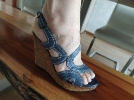 Sandales à talon haut bleu azur cuir