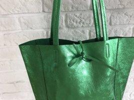 Echtleder Shopper Handtasche Henkeltasche Schultertasche grün glitzer NEU weich