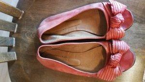 Ballerina spuntata rosso chiaro Pelle