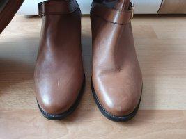 Laarzen met hak camel-brons Leer