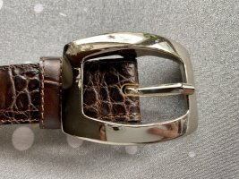 abro Leather Belt dark brown-silver-colored