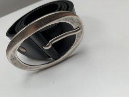 keine Lederen riem zwart-zilver