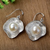 Echtperlen Silber 925 Ohrringe/ Ohrhänger mit Muschelschal