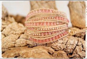 Bracelet en cuir rose chair-beige clair cuir