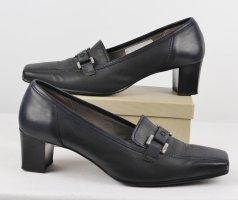 Eckig Pumps Schnalle Gabor Größe 6 39 Schwarzblau Dunkelblau Silberfarben Leder Schuhe Business Trotteur