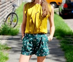 edc shorts Pyjama-look high waist pajama tropical
