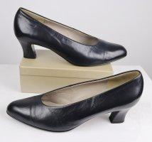 Edel Klassisch Pumps Schuhe Gabor Fashion Größe 7,5 41 Dunkelblau Blau Spitz 80er Retro Glattleder Leder Business