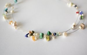 Collana di perle multicolore Acciaio pregiato