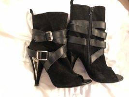 Eden Peep Toe Booties black-silver-colored