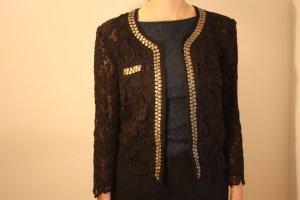 edle braune Jacke mit halb transparentem Blütenmuster und Pailletten Gr.38 | BIAGGINI Violett