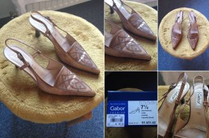 Edle caramel-farbene Leder-Riemchen-Sandalette von Gabor