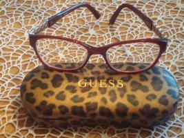edle GUESS Brille und Etui, bordeauxrot
