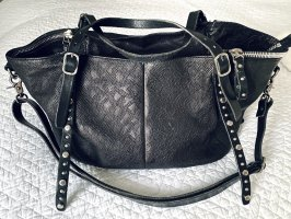 A.S.98 Handbag black-silver-colored leather