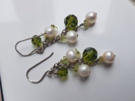 Edle Ohrringe,  925, Perlen u. grüne Steine