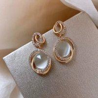 edle Ohrringe mit Zirkonia und Opalen * Ohrpins aus 925 Sterling Silber