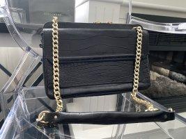 Edle schwarze Zara Kroko Handtasche mit goldener Hardware