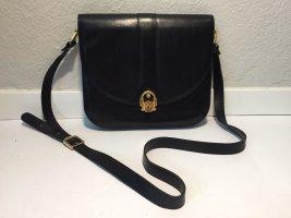 Edle Vintage Umhängetasche schwarzes Leder