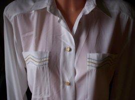 Edle weiße Bluse mit Stickereien, sexy leicht durchschimmernd, Gr. 34-38