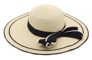 Cappello di paglia beige chiaro-nero
