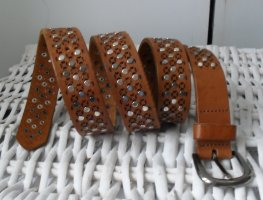 Opus Leather Belt cognac-coloured-silver-colored leather