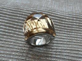 edler Ring aus Edel stahl m. einem gr. gelben Glitzerstein Gr. 17