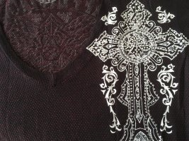 Affliction T-shirt col en V multicolore tissu mixte