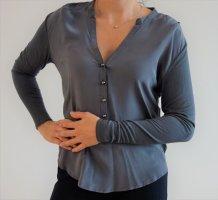 Edles Lagarmshirt aus Seide von *KOOKAI* in silber-grau, Größe: 0 (entspricht 34)