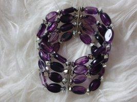 Elastisches Armband Armreifen lila Perlen