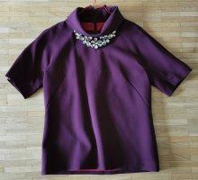 Elégance Paris - Shirt Bluse Top mit Collier aubergine 3/4 arm Gr. 36