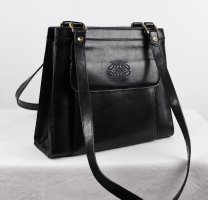 Elegant Leder Handtasche Trapez Tasche Schwarz Goldfarben Henkeltasche Business Koffer