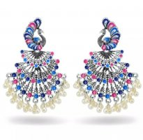 Bollywood Boucles d'oreilles en perles rose-bleu