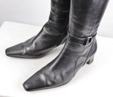 Elegant Spitze Lederstiefel Stiefel Tamaris Größe 39 Schwarz Glattleder Schnalle Eckig Winterstiefel Futter