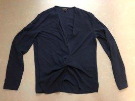 Topshop Long Sleeve Blouse dark blue polyester