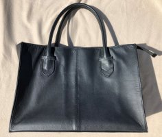 Elegante Damen-Handtasche, Echt Leder, Schwarz
