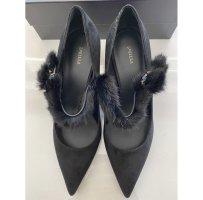Elegante Designer Heels 590€ schwarz Leder Echtfell Nerz