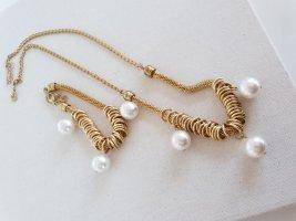 Elegante Gold Kette Perlenbesatz Halsschmuck Perlenschmuck