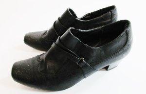 Elegante Hochfront Pumps Pia Corsini Größe 39 Schwarz Leder Schnalle Budapester Schlüpfschuh Schuhe Halbschuh Business