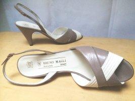 Bruno Magli Sandales à talons hauts et lanière gris clair-blanc cuir