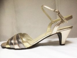 Elegante Leder Sandalette,  Marke Enro di Siena. Made in Italy. Silber und Goldfarben
