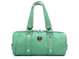 Elegante MCM Handtasche Abendtasche Tasche Bag Grün Silber Leder Henkeltasche