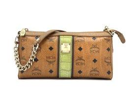 Elegante MCM Handtasche Clutch Tasche Bag Cognac Gold Visetos Schultertasche
