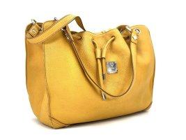 Elegante MCM Kordelzug Tasche Drawstring Bag Leder Gelb Silber Shopper