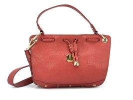 Elegante MCM Leder Tasche Rot Gold Schultertasche Handtasche Shopper Red Small