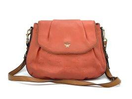 Elegante MCM Leder Tasche Schultertasche Rot Braun Silber Shopper Bag Handtasche