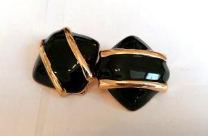 Elegante Ohrclips von Zara in Schwarz-Gold, neu und ungetragen