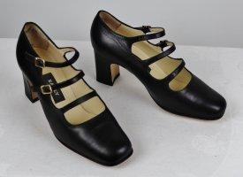 Elegante Riemchen Pumps Bally Größe 36,5  4 Schwarz Retro Eckig Leder Viktorianisch Schnalle Schuhe