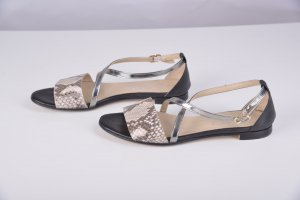 AGL Strapped Sandals black-silver-colored leather